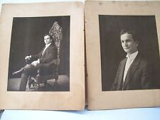 Antique 2 LARGE CABINET CARD VICTORIAN PHOTO-DRESSED MAN W/GOTHIC REVIVAL CHAIR