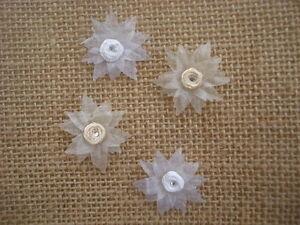 Organza Craft Flowers, 4, Ivory/White, 3cm, Sew/Glue