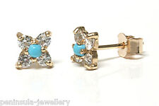 9ct Gold Turquoise Stud earrings Gift Boxed Studs Made in UK