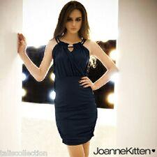 Joanne Kitten Embellished Halter Evening Party Mini Dress in Dark Navy JK-2156