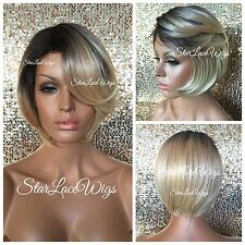 Short Straight Blonde Bob Lace Front Wig Darks Root Layered Side Part Heat Safe
