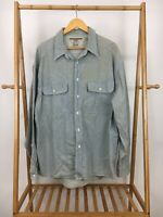 RARE VTG 90s Levi's Railroad Conductor Striped Button Long Sleeve Shirt Size XL