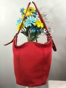 Vintage COACH Legacy Red Nylon Bucket Crossbody Bag #6204