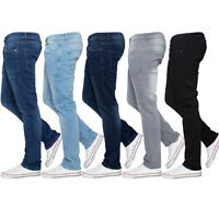 Enzo Mens Skinny Stretch Slim Fit Jeans Denim Trousers Pants All Waist Leg Sizes