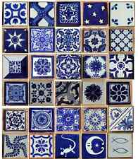 """30~MEXICAN TALAVERA POTTERY 4"""" tile Hand Painted MURAL COBALT BLUE & WHITE"""