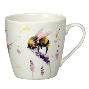 Country Life Bumble Bees 350ml Fine China Mug Coffee Tea Cup Watercolour Design