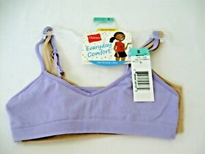 HANES Girls Cami Strap BRA Wirefree Size SMALL 2 Pack Purple & Nude NEW with Tag