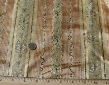"""French Antique 18thC Floral Peach Silk Stripe Fabric~Dolls~L-27"""" X W-19"""""""