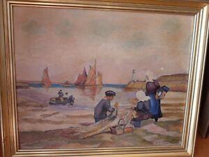 Tableau !Huile sur panneau ancien! marine , breton ! signature à déchiffrer....