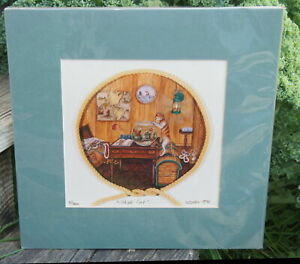 Whimsical SHIPS CAT Limited Edition Print 9/300 by Denise Satter 1995 HTF