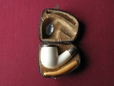 Unsmoked Marmara meerschaum bent pipe with army mount mouthpiece NOS tie-vintage