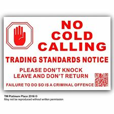 No Cold Calling,Salesman Callers External,Door Warning House Sticker Sign-2016