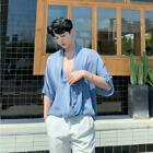 Men's Summer Fashion V Neck Dolman Sleeve Loose Shirt Youth Casual Party Tops