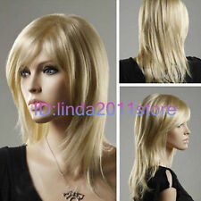 Womens Long Layer Bangs Straight Blonde Natural Hair Cosplay Party Costume Wigs