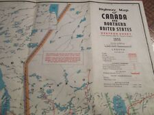Antique Vtg 1958 Canada Highway Map w/ Northern United States