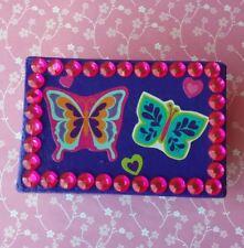 Handmade Butterfly & Rhinestone Purple Paper Mache Trinket Jewelry Gift Box