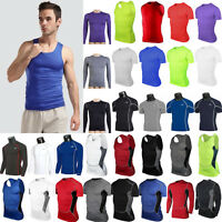 Men Compression Under Shirt Base Layer Tops Gym Athletic Fitness Muscle T-Shirts