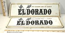 2pc Vintage Eldorado Tire Service Station Checkered Flag Metal Signs