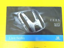 OEM Civic Sedan 05 2005 Honda Owners Owner's Manual Sedan Models & All Engines