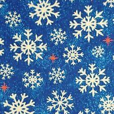 Christmas USA Patriotic Snowflakes BLUE 100% Cotton Fabric 1/2 YARD Free Ship