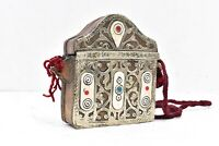 Antique Tibetan Pouch metal Leather Brass Tibetan Purse tobacco bag Vintage