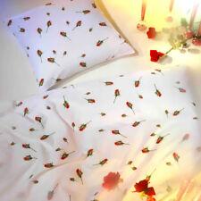 Kaeppel Mako Satin Bettwäsche 135x200 cm Rosen-Knospen 8448 weiß rot grün Blume