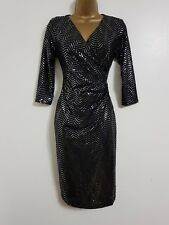 NEW Dorothy Perkins Silver Sequin Black Metallic Sparkly Wrap Shift Dress Party
