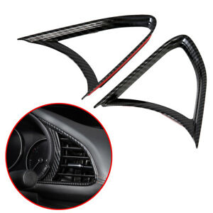 Carbon Fiber Front Side Air Vent Outlet AC Cover Trim For Mazda 3 Axela 2019-20
