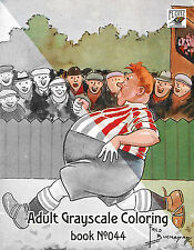 Adult Coloring Book (24 pages) Funny Sport Scotland Vintage FLONZ grayscale 044