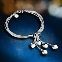 Charm Fashion Love Heart Bracelet Bangle 925 Silver Women Wedding Jewelry Gifts