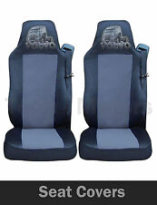 2x VOLVO FH12 FH16 FL FM Seat Covers Tailored HGV Truck Lorry Black / Grey LOGO