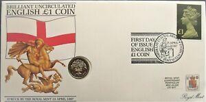 Elizabeth II 1987 Oak Tree One Pound Coin Cover £1 Stamp