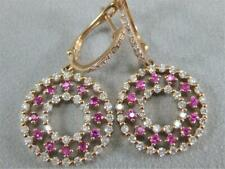 MODERN ROUND DIAMOND RUBY 14KT ROSE GOLD PAVE CIRCLE CLUSTER EARRINGS #E13380RA
