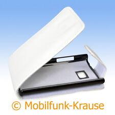 Flip Case Etui Handytasche Tasche Hülle f. LG E400 Optimus L3 (Weiß)
