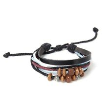 Leatherette Hemp Rope Bracelet/ Tibetan Silver Beads Wooden Beads H2B9