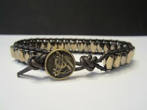 Handcrafted Mens Pyrite Hematite Magnetic Brown Leather Bracelet Horse Button