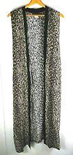 "Matthew & David Womens Cardigan Vest Jaguar Animal Print 24W Maxi 56"" Long"