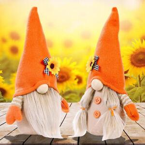 2 PCs Sunflower Spring Gnome Plush Cute Ornament Decorations Summer Couple Toy