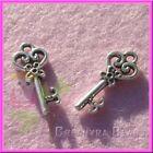 12 Pz Charms Ciondolo chiave Cuore fiorito in argento tibetano 21 mm