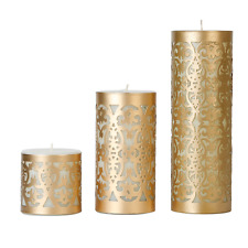"Gold Candle Votive Holder Set of 3 (4"", 8"", 10"") - Authentic Handmade Crafted"