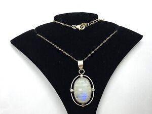Vintage Sterling Silver Large Blue Flash Moonstone Pendant Necklace