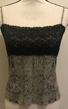 PHILIPPE ADEC PARIS Knit Tank Top Sleeveless lace Blouse Sz M runs Small