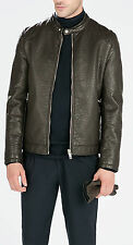 New ZARA Men's FAUX LEATHER JACKET WITH PADDED SHOULDER   Sz- L NWT