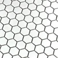 White Hexagon Matt Mosaic Wall & Floor Tiles 2.3 x 2.3
