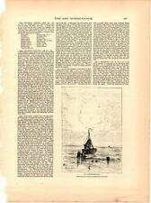 "1887 ""At Scheveningue"" Sailing Boat Scene Antique Vtg  Print 13x10"""
