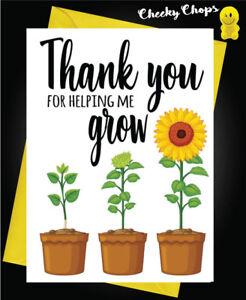 Teacher Thank You Card Mr Mrs Miss Teaching Assistant Nursery Childminder K6