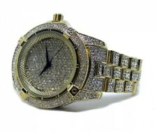 Mens Hip Hop Gold PT Quavo Iced Out Techno Pave Bling Rapper's Metal Band Watch