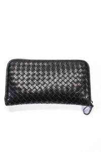 Bottega Veneta Womens Leather Zip Up Wallet Black Medium