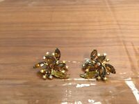 "Vintage Gold-tone Amber & Aurora Borealis Rhinestone Clip On Earrings 1 1/2"" A59"
