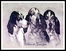 GRANDE BLEU DE GASCOGNE DOGS HEAD STUDY VINTAGE STYLE DOG ART PRINT POSTER